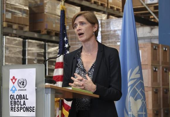 U.S. Ambassador to the United Nations Samantha Power speaks at the U.N. Ebola response mission (UNMEER) warehouse at its headquarters in Accra, Ghana October 29, 2014.  REUTERS/Michelle Nichols