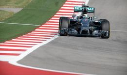 Oct 31, 2014; Austin, TX, USA; Mercedes driver Lewis Hamilton (44) of Great Britain during practice for the 2014 U.S. Grand Prix at Circuit of the Americas. Jerome Miron-USA TODAY Sports