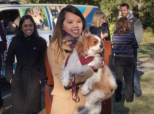 Ebola survivor Nina Pham is reunited with her dog Bentley at the Dallas Animal Services Center in Dallas, November 1, 2014.  REUTERS/Lisa Maria Garza