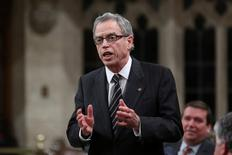 Canada's Finance Minister Joe Oliver speaks during Question Period in the House of Commons on Parliament Hill in Ottawa November 6, 2014. REUTERS/Chris Wattie