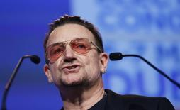 Singer Bono of U2 speaks at the European People's Party (EPP) Elections Congress in Dublin March 7, 2014. REUTERS/Suzanne Plunkett