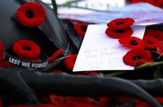 Poppies, notes, and mementoes are placed on the Tomb of the Unknown Soldier following Remembrance Day ceremonies at the National War Memorial in Ottawa November 11, 2014.   REUTERS/Blair Gable