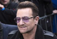 U2 lead singer Bono arrives for the recording of the Band Aid 30 charity single in west London. Neil Hall / Reuters