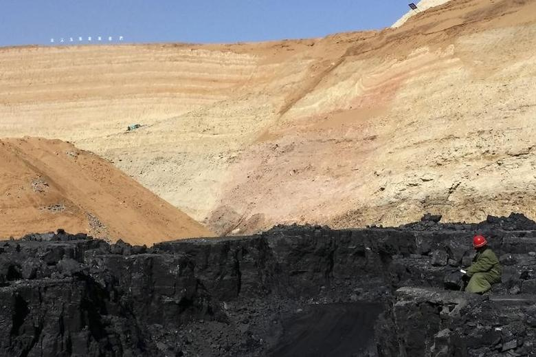 A mine worker looks at stacks of coal in an open-cast steam coal mine located in the Ordos mining district, Inner Mongolia Autonomous Region, March 14, 2014.  REUTERS/Fayen Wong