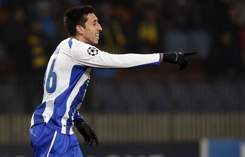 Portos Hector Herrera Celebrates His Goal Against BATE Borisov During Their Champions League Group H Soccer Match At The Arena Stadium Outside