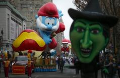 Balloons float down Central Park West during the 88th Macy's Thanksgiving Day Parade in New York November 27, 2014. REUTERS/Eduardo Munoz