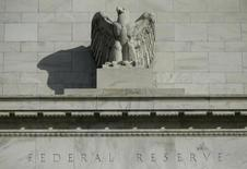 A detail from the front of the United States Federal Reserve Board building is shown in Washington October 28, 2014. REUTERS/Gary Cameron