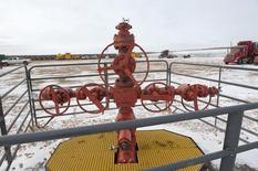 A new oil well head waits to be fracked at a Hess site near Williston, North Dakota November 12, 2014.   REUTERS/Andrew Cullen