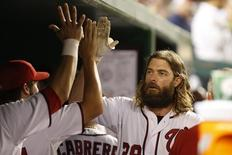 Aug 22, 2014; Washington, DC, USA; Washington Nationals right fielder Jayson Werth (28) celebrates with teammates in the dugout after hitting a home run against the San Francisco Giants in the fourth inning at Nationals Park. Mandatory Credit: Geoff Burke-USA TODAY Sports