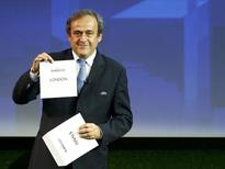 Michel Platini during a ceremony in Geneva September 19, 2014. REUTERS/Pierre Albouy