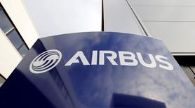 Airbus's company logo is pictured at the Airbus headquarters in Toulouse, December 4, 2014.  REUTERS/ Regis Duvignau