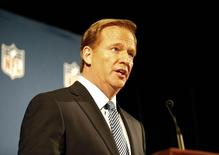 Sep 19, 2014; New York, NY, USA; NFL commissioner Roger Goodell addresses the media at a press conference at New York Hilton. Mandatory Credit: Andy Marlin-USA TODAY Sports