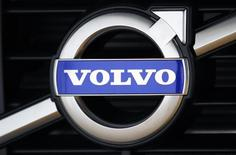 The Volvo logo is seen on a new XC60 model in a showroom near the Volvo Car Corporation Headquarters in Gothenburg May 20, 2010. REUTERS/Bob Strong
