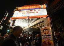 "Heavy security surrounds the entrance of United Artists theater during the premiere of the film ""The Interview"" in Los Angeles, California in this December 11, 2014 file photo. REUTERS/Kevork Djansezian/Files"