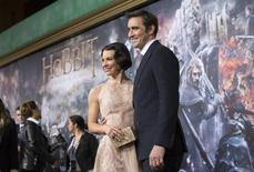 """Cast members Lee Pace and Evangeline Lilly (L) pose at the premiere of """"The Hobbit: The Battle of the Five Armies"""" at Dolby theatre in Hollywood, California December 9, 2014. REUTERS/Mario Anzuoni"""