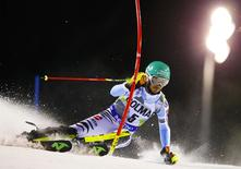 Felix Neureuther of Germany clears a gate during the men's World Cup Slalom skiing race in Madonna di Campiglio December 22, 2014. REUTERS/Stefano Rellandini