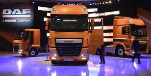 DAF trucks are pictured  at the booth of Dutch truck maker DAF at the IAA truck show in Hanover, September 23,  2014. REUTERS/Fabian Bimmer