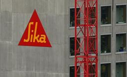 The company's logo of Swiss chemicals group Sika is seen at an office building in Zurich December 8, 2014.  REUTERS/Arnd Wiegmann