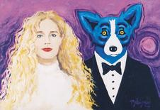 """The 1997 painting """"Wendy and Me"""" by Louisiana artist George Rodrigue, is pictured in this undated handout image obtained by Reuters January 6, 2015. The painting, with an estimated value of $250,000, depicts the artist as a blue dog beside his bride on their wedding day. It was stolen on January 6, 2015 from a gallery in New Orleans, the artist's son Jacques Rodrigue said.  REUTERS/George Rodrigue Foundation of the Arts/Handout via Reuters  (UNITED STATES - Tags: CRIME LAW ENTERTAINMENT) ATTENTION EDITORS - FOR EDITORIAL USE ONLY. NOT FOR SALE FOR MARKETING OR ADVERTISING CAMPAIGNS. THIS IMAGE HAS BEEN SUPPLIED BY A THIRD PARTY. IT IS DISTRIBUTED, EXACTLY AS RECEIVED BY REUTERS, AS A SERVICE TO CLIENTS. NO SALES. NO ARCHIVES"""