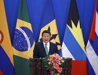 Presidente chinês, Xi Jinping, discursa na abertura de cerimônia China-Celac, em Pequim. 08/01/2015 REUTERS/Kim Kyung-Hoon