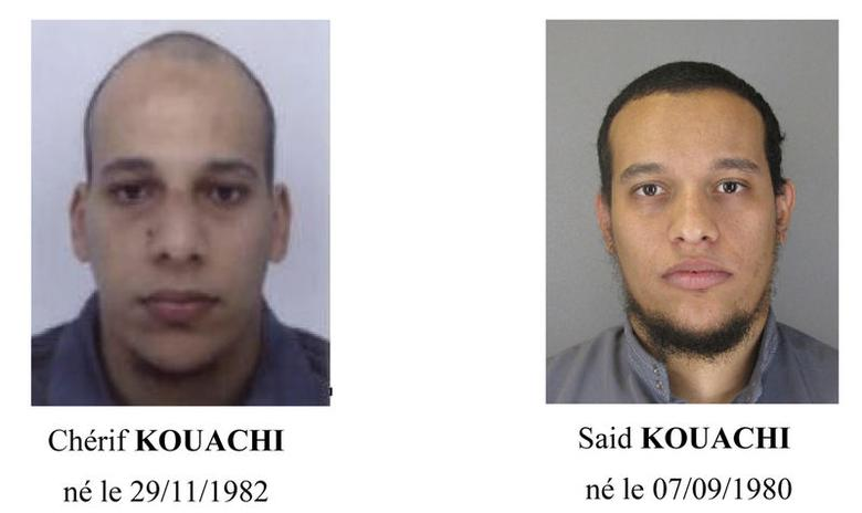 A call for witnesses released by the Paris Prefecture de Police January 8, 2015 shows the photos of two brothers Cherif Kouachi (L) and Said Kouachi, who are considered armed and dangerous, and are actively being sought in the investigation of the shooting at the Paris offices of satirical weekly newspaper Charlie Hebdo on Wednesday. REUTERS/Paris Prefecture de Police/Handout via Reuters