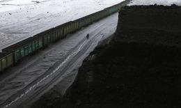 Рабочий проходит мимо состава с углем в Бородинском разрезе к востоку от Красноярска 9 декабря 2014 года. Перевозки грузов железными дорогами РФ в 2014 году сократились на 0,8 процента до 1,23 миллиарда тонн, сообщила российская железнодорожная монополия РЖД в понедельник. REUTERS/Ilya Naymushin