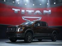 The 2016 Nissan Titan pickup truck is unveiled at the first press preview day of the North American International Auto Show in Detroit, Michigan, January 12, 2015.   REUTERS/Mark Blinch