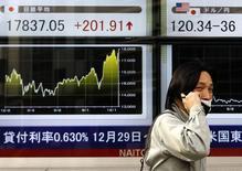 Мужчина у брокерской конторы в Токио. 24 декабря 2014 года. Азиатские фондовые рынки выросли в четверг благодаря повышению цен на сырье накануне. REUTERS/Yuya Shino