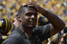 NFL rookie Michael Sam stands on the sidelines of the game between the Missouri Tigers and the South Dakota State Jackrabbits at Faurot Field. Jasen Vinlove-USA TODAY Sports
