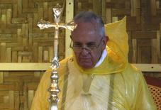 Pope Francis, in a rain poncho, attends during a Mass near Tacloban airport January 17, 2015. REUTERS/ Stefano Rellandini