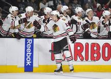 November 29, 2014; Los Angeles, CA, USA; Chicago Blackhawks left wing Daniel Carcillo (13) celebrates his goal scored against the Los Angeles Kings during the first period at Staples Center. Gary A. Vasquez-USA TODAY Sports