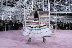 A model presents a creation by Belgian designer Raf Simons as part of his Haute Couture Spring Summer 2015 fashion show for French fashion house Christian Dior in Paris January 26, 2015.    REUTERS/Gonzalo Fuentes