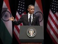 U.S. President Barack Obama addresses a gathering at Siri Fort Auditorium in New Delhi January 27, 2015. REUTERS/Ahmad Masood