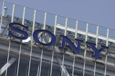 A logo of Sony Corp is pictured atop the company headquarters in Tokyo April 12, 2012.    REUTERS/Yuriko Nakao