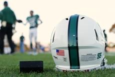 A football helmet's health warning sticker is pictured between a U.S. flag and the number 55, in memory of former student and NFL player Junior Seau in a file photo taken in Oceanside, California September 14, 2012.    REUTERS/Mike Blake