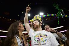 "Patrick ""Deep Dish"" Bertoletti celebrates after winning the 23rd annual Wing Bowl at the Wells Fargo Center in Philadelphia, Pennsylvania January 30, 2015.  REUTERS/Mark Makela"