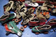"A pile of roller skates are seen at ""Rich City Skate"" in Richton Park, Illinois, January 12, 2015.  REUTERS/Jim Young"