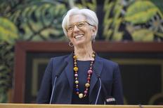International Monetary Fund Managing Director Christine Lagarde smiles while speaking at the National Assembly in Dakar January 30, 2015. REUTERS/Stephen Jaffe/IMF Staff Photograph Handout via Reuters