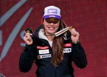 Feb 9, 2015; Vail, CO, USA; Tina Maze of Slovenia with her gold medal during the medals ceremony for the women's alpine combined in the FIS alpine skiing world championships at Championships Plaza. Mandatory Credit: Jeff Swinger-USA TODAY Sports