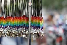 Rainbow whistles are shown hanging at the San Francisco Gay Pride Parade in San Francisco, California June 30, 2013. REUTERS/Jed Jacobsohn