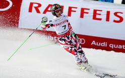 Feb 12, 2015; Beaver Creek, CO, USA; Anna Fenninger of Austria reacts after run one of the womens giant slalom in the FIS alpine skiing world championships at Raptor Racecourse. Mandatory Credit: Jeff Swinger-USA TODAY Sports