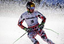 Feb 13, 2015; Beaver Creek, CO, USA; Marcel Hirscher reacts after run two of the men's giant slalom in the FIS alpine skiing world championships at Birds of Prey Racecourse. Hirscher came in second place. Mandatory Credit: Jeff Swinger-USA TODAY Sports
