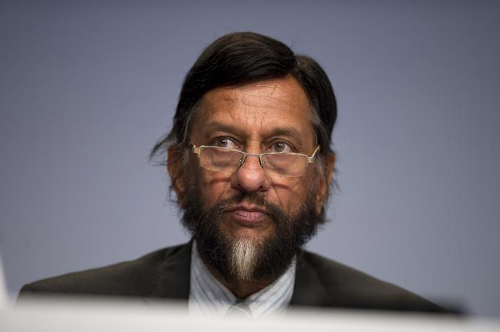 Rajendra Pachauri attends a news conference to present Working Group III's summary for policymakers at The Intergovernmental Panel on Climate Change (IPCC) in Berlin April 13, 2014. REUTERS/Steffi Loos/Files