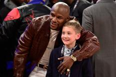 February 15, 2015; New York, NY, USA; Professional boxer Floyd Mayweather during halftime of the 2015 NBA All-Star Game at Madison Square Garden. Mandatory Credit: Bob Donnan-USA TODAY Sports