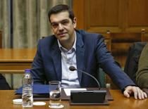 Greek Prime Minister Alexis Tsipras attends a cabinet meeting at the parliament building in Athens, February 21, 2015.  REUTERS/Kostas Tsironis