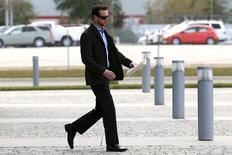 Feb 21, 2015; Daytona Beach, FL, USA; NASCAR Sprint Cup Series driver Kurt Busch leaves his appeal hearing at NASCAR headquarters. Mandatory Credit: Andrew Weber-USA TODAY Sports