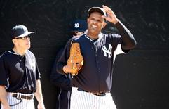 Feb 21, 2015; Tampa, FL, USA; New York Yankees starting pitcher CC Sabathia (52) gets ready to throw a bullpen session during spring training workouts at George M. Steinbrenner Field. Mandatory Credit: Kim Klement-USA TODAY Sports