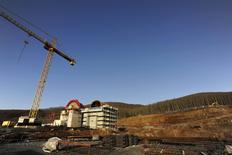 A general view of the construction site of a mine of Hellas Gold, a subsidiary of Canadian mining company Eldorado Gold Corp, in Skouries, in the Halkidiki region, northern Greece February 15, 2015. REUTERS/Alexandros Avramidis