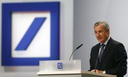 Juergen Fitschen, co-CEO of Deutsche Bank AG, speaks during a shareholders meeting in Frankfurt May 22, 2014. REUTERS/Ralph Orlowski