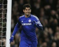 Diego Costa, do Chelsea, comemora gol durante jogo contra o Newcastle United, em Londres, em janeiro. 10/01/2015 REUTERS/Stefan Wermuth